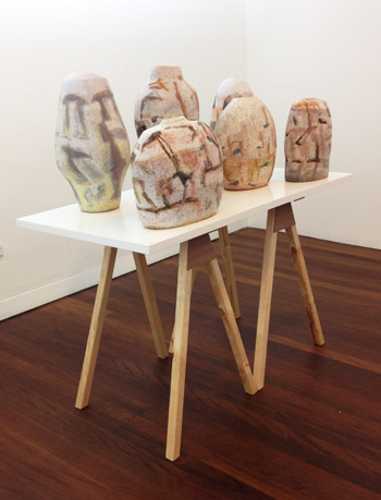 My ceramics in the exhibition, 'The Course of Objects' at the Manly Art Gallery (4/6)