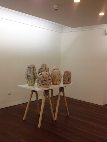 My ceramics in the exhibition, 'The Course of Objects' at the Manly Art Gallery (3/6)